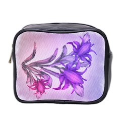 Flowers Flower Purple Flower Mini Toiletries Bag 2 Side