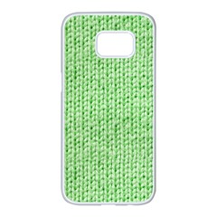 Knittedwoolcolour2 Samsung Galaxy S7 Edge White Seamless Case by snowwhitegirl
