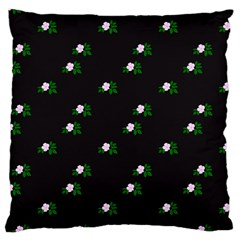 Pink Flowers On Black Big Large Cushion Case (two Sides) by snowwhitegirl
