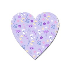 Violet,lavender,cute,floral,pink,purple,pattern,girly,modern,trendy Heart Magnet by 8fugoso