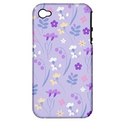 Violet,lavender,cute,floral,pink,purple,pattern,girly,modern,trendy Apple Iphone 4/4s Hardshell Case (pc+silicone)