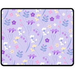 Violet,lavender,cute,floral,pink,purple,pattern,girly,modern,trendy Double Sided Fleece Blanket (medium)  by 8fugoso