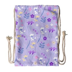 Violet,lavender,cute,floral,pink,purple,pattern,girly,modern,trendy Drawstring Bag (large) by 8fugoso