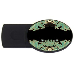 Black,green,gold,art Nouveau,floral,pattern Usb Flash Drive Oval (2 Gb) by 8fugoso