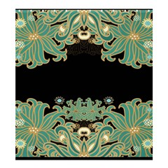 Black,green,gold,art Nouveau,floral,pattern Shower Curtain 66  X 72  (large)  by 8fugoso