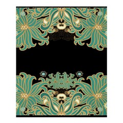Black,green,gold,art Nouveau,floral,pattern Shower Curtain 60  X 72  (medium)  by 8fugoso