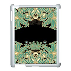 Black,green,gold,art Nouveau,floral,pattern Apple Ipad 3/4 Case (white) by 8fugoso
