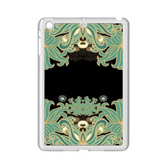 Black,green,gold,art Nouveau,floral,pattern Ipad Mini 2 Enamel Coated Cases by 8fugoso
