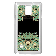 Black,green,gold,art Nouveau,floral,pattern Samsung Galaxy Note 4 Case (white) by 8fugoso
