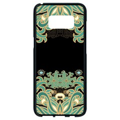 Black,green,gold,art Nouveau,floral,pattern Samsung Galaxy S8 Black Seamless Case by 8fugoso
