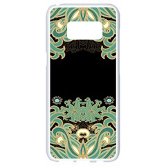 Black,green,gold,art Nouveau,floral,pattern Samsung Galaxy S8 White Seamless Case by 8fugoso