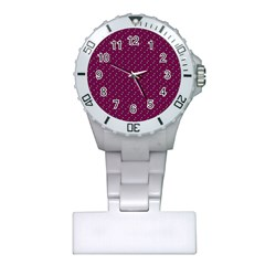 Pink Flowers Magenta Plastic Nurses Watch by snowwhitegirl