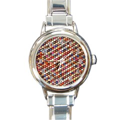 Mosaic Pattern Quilt Pattern Round Italian Charm Watch by paulaoliveiradesign