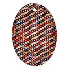 Mosaic Pattern Quilt Pattern Oval Ornament (two Sides)