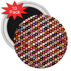 Mosaic Pattern Quilt Pattern 3  Magnet (10 Pack) by paulaoliveiradesign