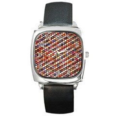 Mosaic Pattern Quilt Pattern Square Metal Watch by paulaoliveiradesign