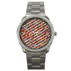 Mosaic Pattern Quilt Pattern Sport Metal Watch by paulaoliveiradesign