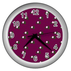 Pink Flowers Magenta Big Wall Clocks (silver)  by snowwhitegirl