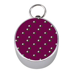 Pink Flowers Magenta Big Mini Silver Compasses by snowwhitegirl