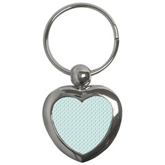 Pink Flowers Blue Key Chains (heart)  by snowwhitegirl