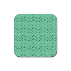 Pink Flowers Green Rubber Square Coaster (4 Pack)  by snowwhitegirl
