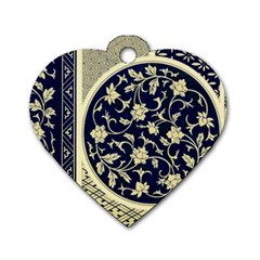 Background Vintage Japanese Dog Tag Heart (two Sides)
