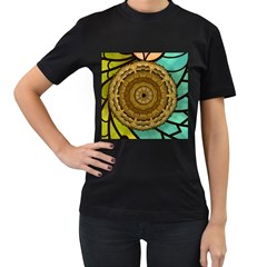 Kaleidoscope Dream Illusion Women s T Shirt (black) (two Sided)