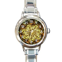 Fractal Flower Petals Gold Round Italian Charm Watch by Nexatart