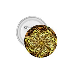 Fractal Flower Petals Gold 1 75  Buttons by Nexatart