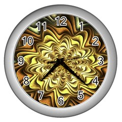 Fractal Flower Petals Gold Wall Clocks (silver)  by Nexatart
