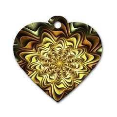 Fractal Flower Petals Gold Dog Tag Heart (two Sides) by Nexatart