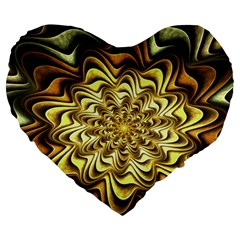 Fractal Flower Petals Gold Large 19  Premium Heart Shape Cushions