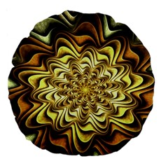 Fractal Flower Petals Gold Large 18  Premium Flano Round Cushions