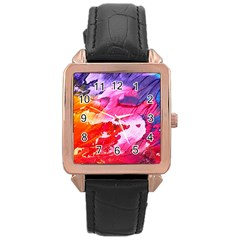 Abstract Art Background Paint Rose Gold Leather Watch  by Nexatart