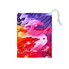 Abstract Art Background Paint Drawstring Pouches (medium)