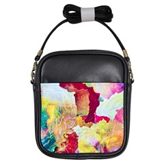 Art Detail Abstract Painting Wax Girls Sling Bags by Nexatart