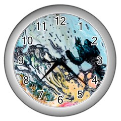 Abstract Structure Background Wax Wall Clocks (silver)