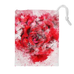 Flower Roses Heart Art Abstract Drawstring Pouches (extra Large) by Nexatart
