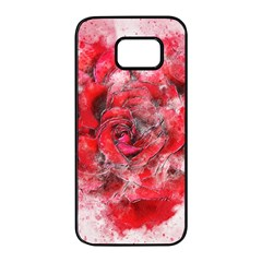 Flower Roses Heart Art Abstract Samsung Galaxy S7 Edge Black Seamless Case by Nexatart