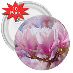 Flowers Magnolia Art Abstract 3  Buttons (10 Pack)  by Nexatart