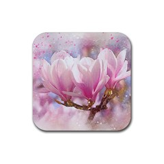 Flowers Magnolia Art Abstract Rubber Coaster (square)  by Nexatart