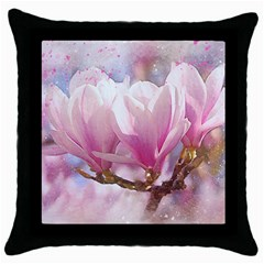 Flowers Magnolia Art Abstract Throw Pillow Case (black) by Nexatart