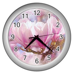Flowers Magnolia Art Abstract Wall Clocks (silver)