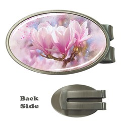 Flowers Magnolia Art Abstract Money Clips (oval)