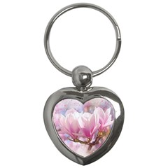 Flowers Magnolia Art Abstract Key Chains (heart)  by Nexatart