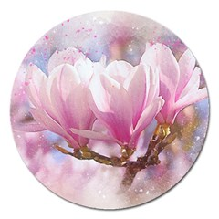 Flowers Magnolia Art Abstract Magnet 5  (round) by Nexatart