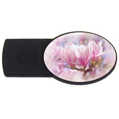 Flowers Magnolia Art Abstract Usb Flash Drive Oval (4 Gb) by Nexatart