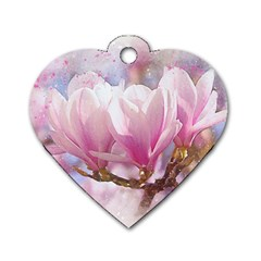 Flowers Magnolia Art Abstract Dog Tag Heart (two Sides) by Nexatart