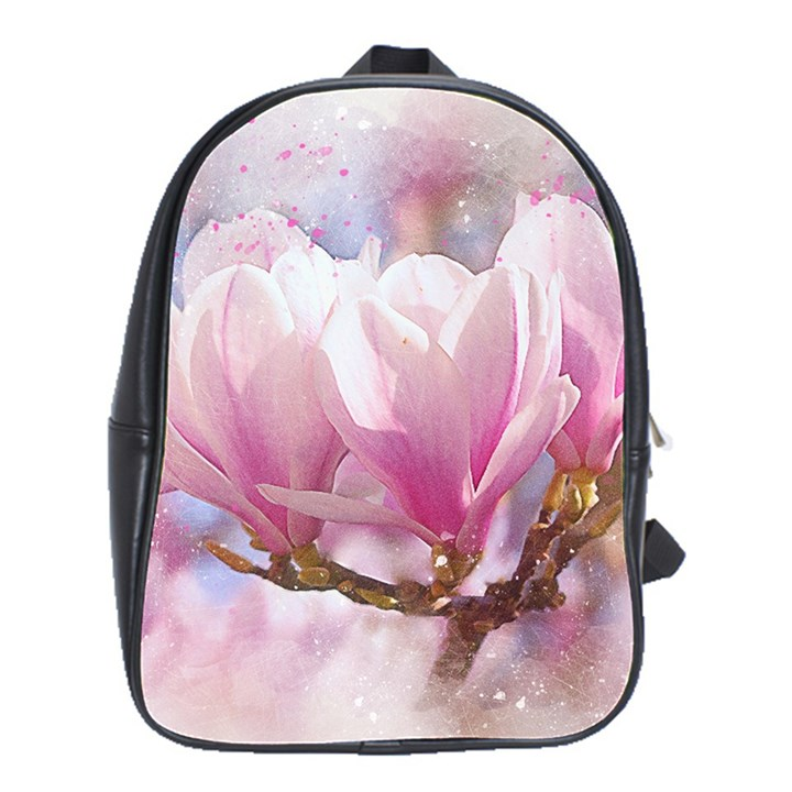 Flowers Magnolia Art Abstract School Bag (Large)