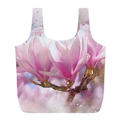 Flowers Magnolia Art Abstract Full Print Recycle Bags (l)  by Nexatart